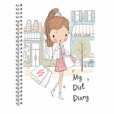Wire Bound A5 Diet Diary Slimming Tracker Food Diary Weight Loss Journal Girl 1