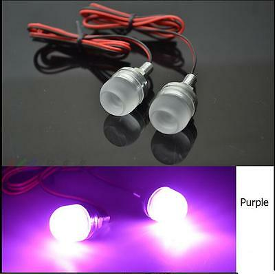 Motorcycle Car Truck Mini LED License Plate Lights Screw Mount Mounting Purple