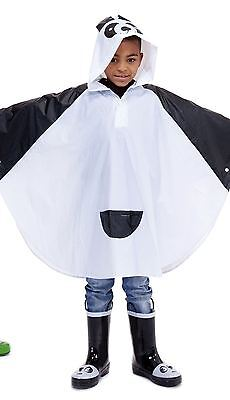 Waterproof Kids Boys Girls Panda Animal Rain Poncho Cover Raincoat Coat