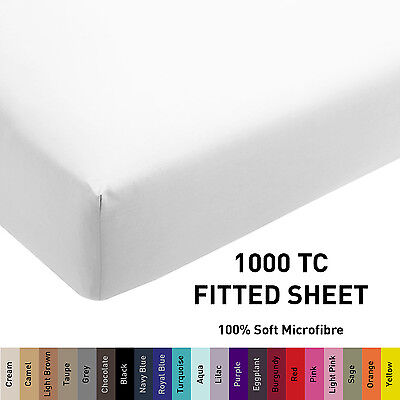 1000TC Microfiber 1pc Fitted Sheet [ONLY] Single/Double/Queen/King/Super Size