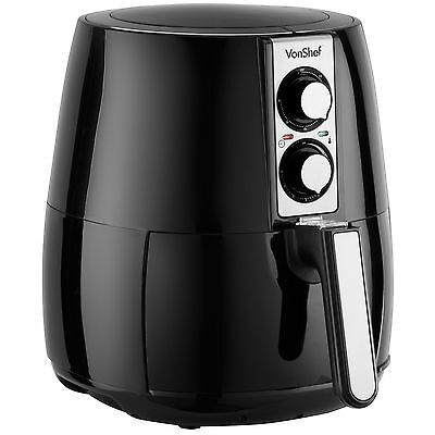 VonShef 2.2L Air Fryer Deep Fat Fryer Healthy Low Fat No Oil Black 1230W