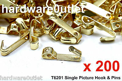 Qty 200 Single Picture Hooks & Hardened Pins Trade Pack T6201 - Picture Framing
