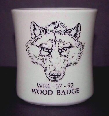 Vintage WOOD BADGE Scouts Wolf WE4-57-92 Ultima China Heavy Coffee Cup Mug