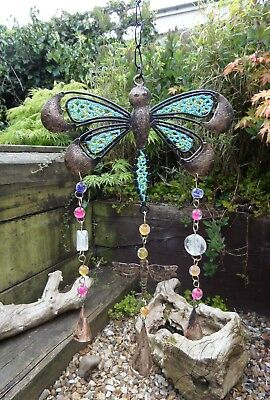 Hand Made Indian Metal Iron Dragonfly Bells Beads Garden Wind Chime Mobile