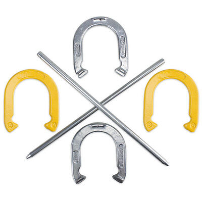 Professional Steel Horse Shoe Set with 4 Horseshoes, 2 Stakes & Carrying Case