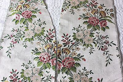 2 Genuine 18thC Antique French Floral Brocaded Silk~ Home Dec,Design, Collectors