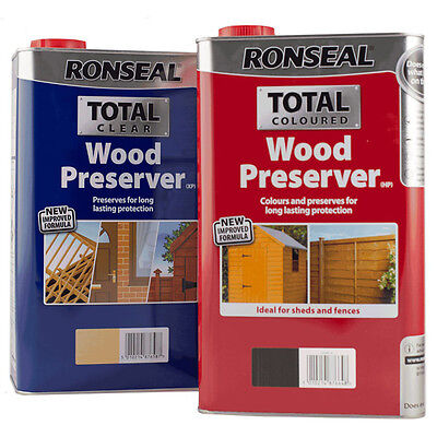 Ronseal Total Wood Preserver 5L - In Clear or 4 Natural Colours