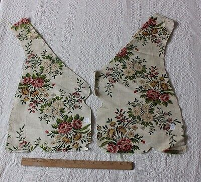 "2 Antique 18thC  French Floral Brocaded Silk Fabric~Design,Collector~L-19""X W-9"""