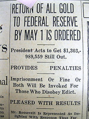 1933 newspaper Numismatic coins scarce as GOLD IS CONFISCATED by US Government