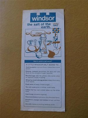 Windsor Salt Company Canada Flyer Brochure Cooking Cleaning Hints Tips Advertise