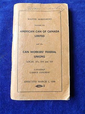 American Can Canada United Steel Workers America Unions Master Agreement 1968
