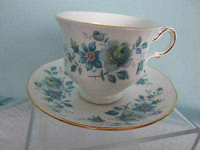 Queen Anne Ridgway Bone China Cup & Saucer Turquoise Flowers Pattern 8500 EPOC
