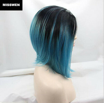 "12"" Heat resistant Lace front wig Synthetic hair Bob straight Ombre 1B/Teal"