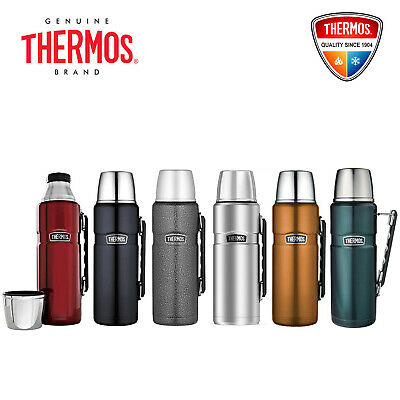 NEW Thermos Stainless King S/Steel Vacuum Insulated Flask 1.2L, Red/Blue