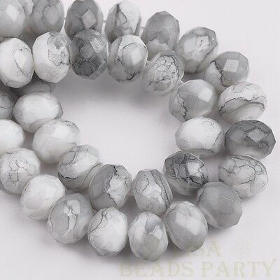 50pcs 8X6mm Marble Vein Rondelle Faceted Glass Loose Spacer Beads Medium Gray