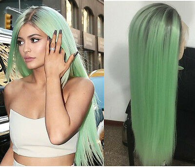 Heat resistant Lace front wig Synthetic hair Straight Ombre color 1B/Mint green