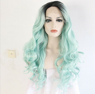 Heat resistant Lace front wig Synthetic hair Body wavy Ombre color 1B/Light mint