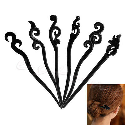 Women Traditional Vintage Retro Original Carved Ebony Wooden Hair Stick Pin