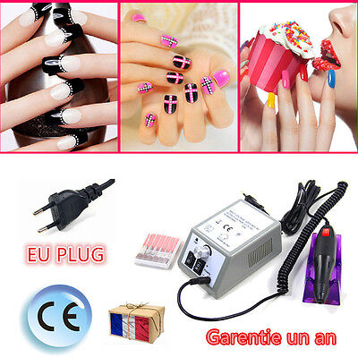 Kit Ponceuse Pour Ongles Prof Electrique Lime Ongles Manucure Blanc/Gris NEUF
