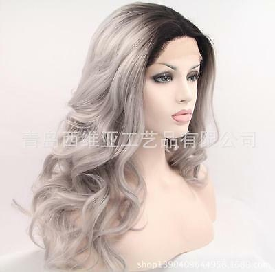 "20"" Heat resistant Lace front wig Synthetic hair Body wavy Ombre color 1B/gray"