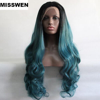 Heat resistant Lace front wig Synthetic hair Body wavy Ombre color 1B/Teal blue