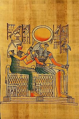 Papyrus photo of Horus (God of the sky) and his mother Isis