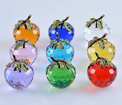 LONGWIN Crystal Glass Apple Figure Home Decor Paperweights 60MM with Box