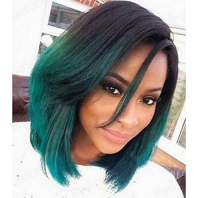 "12"" Heat resistant Lace front wig Synthetic hair Bob straight Ombre 1B/Green"
