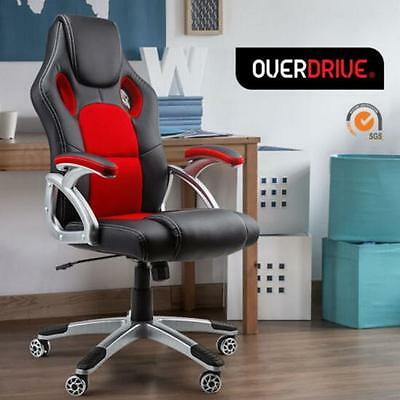 Executive PU Leather Computer Gaming Deluxe Racing Office Chair- Seat Black&Red