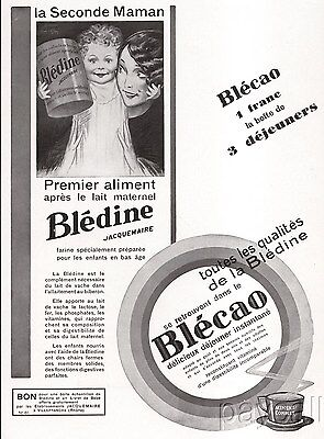 1930 French Ad Baby Food Drink Bledine Jacquemaire Blecao