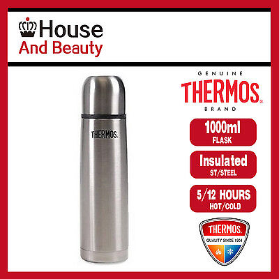 NEW Thermos THERMOcafe S/Steel Slimline 1.0 Litre Vacuum Insulated Flask TPL10SL
