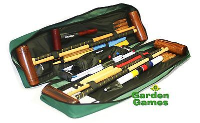 Wooden Townsend 4 Player Croquet Set In Tool Kit Bag By Garden Games