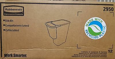 New Rubbermaid Commercial Trash Can Recycling BLACK Side Bin #2950 CASE OF 12