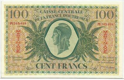 Martinique French Antilles 100 Francs  Xf  Sup   Pick 25   1944