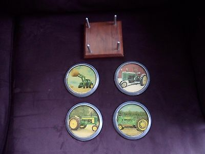RARE Vintage SET of 4 metal acrylic JOHN DEERE coasters tractor farm 1970s? beer