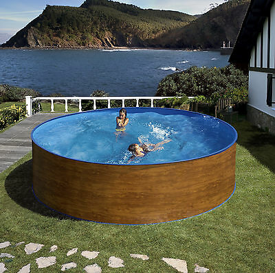 Aqua-World Above Ground Steel Wood Effect Pool, 11.5ft x 4ft Round Pool