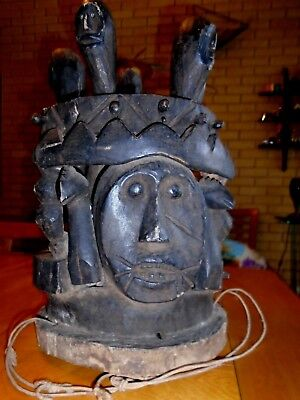 Antique Carved Wooden African IBO Tribal Ceremonial Totem Mask Sculpture