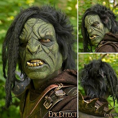 High Quality Latex Orc Brute Mask With Hair. Perfect For Costume, Stage & LARP