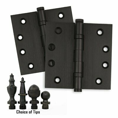 Door Hinges 4 x 4 Solid Brass Ball Bearing Oil Rubbed Bronze w/ Tips - Set of 2