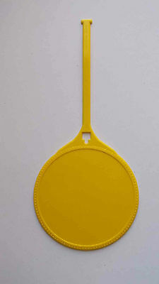 100 - New Blank Yellow 3.75 inch Round Plastic Multi-use Luggage / Golf Bag Tag