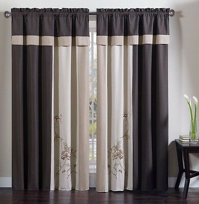 Chezmoi Collection 4-Piece Floral Embroidery Window Curtain Set, Coffee/Tan