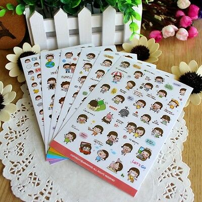 6 Sheets Kawaii Cartoon Momoi Girl Album Scrapbooking Decorative Stickers CA