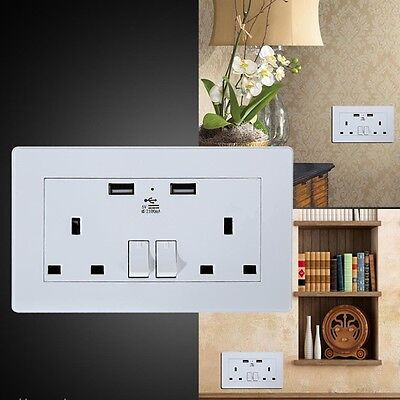 Wall Socket USB Plug Double Power Outlet 13 Amp Charger 2-Gang Electric Ports UK