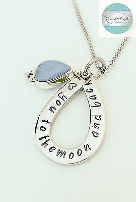 Personalised Names Pendant Teardrop Pendant with Turquoise Sterling Silver Gift