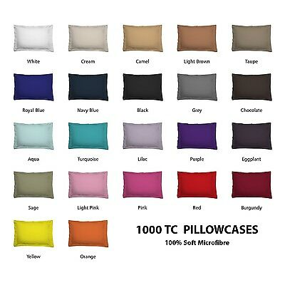 Pair (2) of Standard/ King/ European Size Pillowcases -1000TC Microfibre Colour