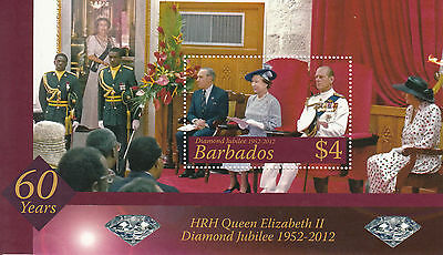 Barbados 2012 MNH Diamond Jubilee 1v M/S Royalty Queen Elizabeth II Stamps