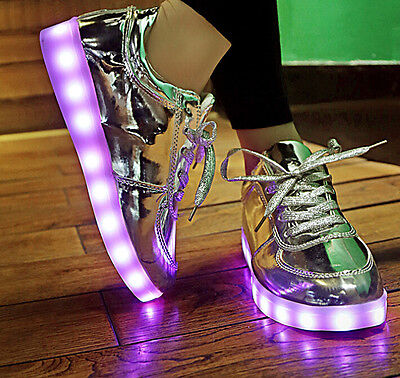 New Unisex Lights Luminous Shoes Sportswear Casual Sneaker LED Women Gold Shoes