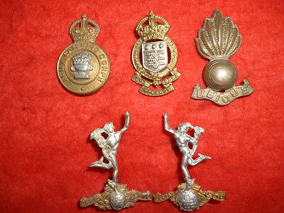 Collector's / Dealer's Lot of (5) British Army Corps Collar Badges, WW1/WW2