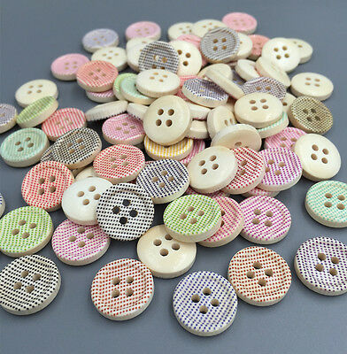 DIY 100pcs 4 hole Wood Buttons Fit Sewing Mix Lots scrapbook Decorative 15mm