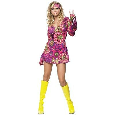 Hippie Costume Adult 60s 70s Outfit Halloween Fancy Dress